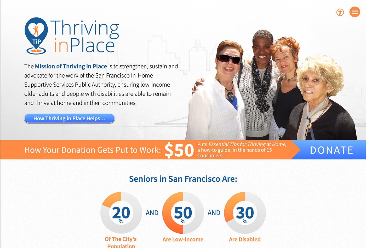 Screenshot of the Thriving in Place website.