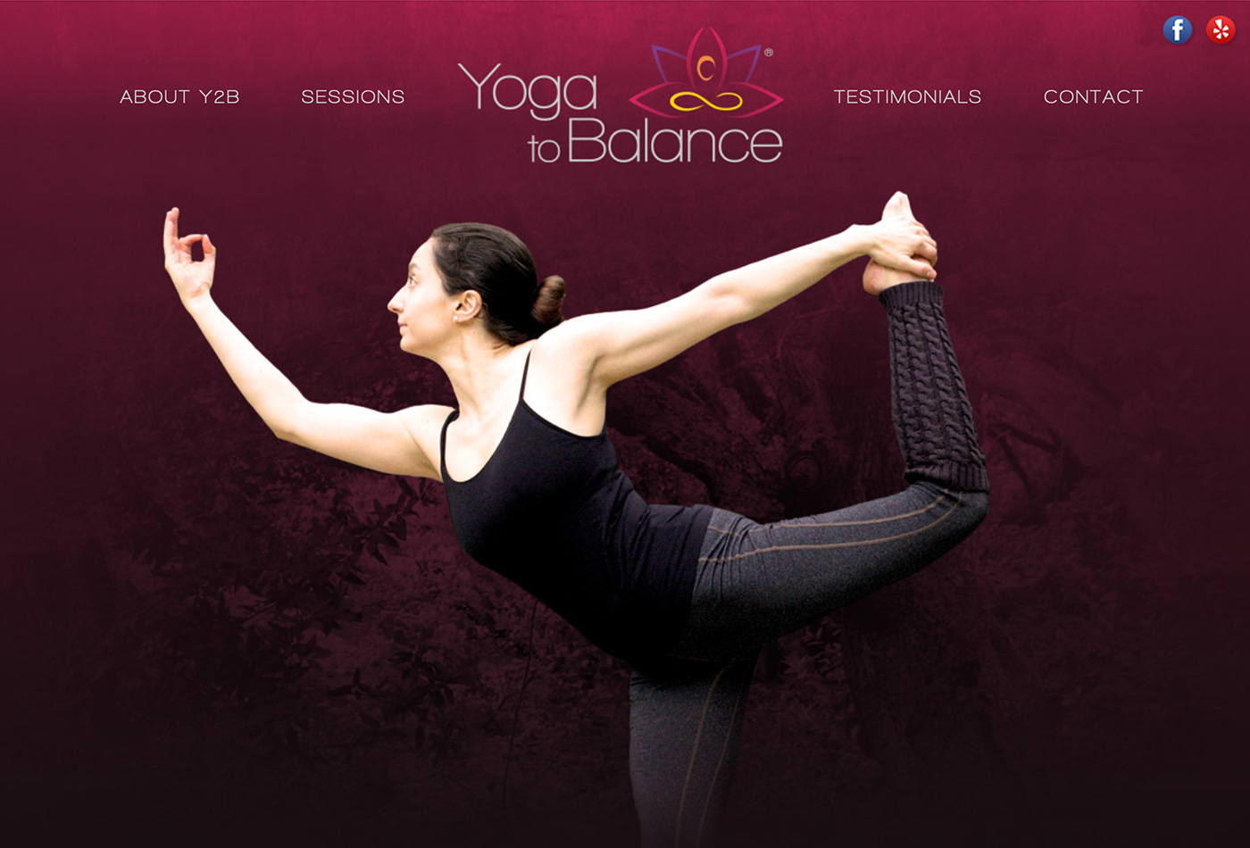 Screenshot of the Yoga To Balance website.